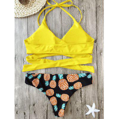 Pineapple Print Wrap Bikini SetWomens Swimwear<br>Pineapple Print Wrap Bikini Set<br><br>Bikini Type: Wrap Bikini<br>Bra Style: Padded<br>Elasticity: Elastic<br>Gender: For Women<br>Material: Chinlon, Spandex<br>Neckline: Halter<br>Package Contents: 1 x Bra  1 x Briefs<br>Pattern Type: Print<br>Support Type: Wire Free<br>Swimwear Type: Bikini<br>Waist: Natural<br>Weight: 0.2200kg