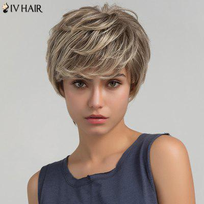 Buy COLORMIX Siv Hair Short Layered Side Bang Shaggy Straight Colormix Human Hair Wig for $37.79 in GearBest store