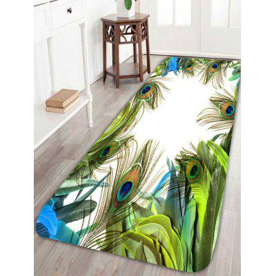 Buy GREEN Peacock Feather Skid Resistant Bathroom Rug for $26.11 in GearBest store