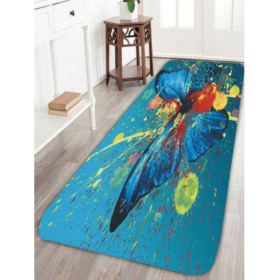 Pintura Spatter Butterfly Floral Skidproof Rug