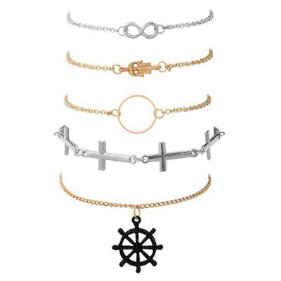 Crucifix Infinite Hand Circle Rudder Bracelet Set