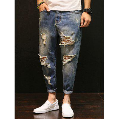 Buy BLUE Zipper Fly Distressed Low-Slung Crotch Nine Minutes of Jeans for $32.84 in GearBest store