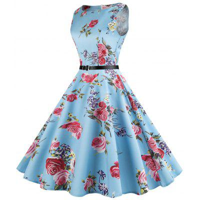 Floral Sleeveless Vintage DressWomens Dresses<br>Floral Sleeveless Vintage Dress<br><br>Dress Type: Swing Dress<br>Dresses Length: Mid-Calf<br>Material: Cotton, Polyester<br>Neckline: Round Collar<br>Package Contents: 1 x Dress 1 x Belt<br>Pattern Type: Floral<br>Season: Summer<br>Silhouette: A-Line<br>Sleeve Length: Sleeveless<br>Style: Vintage<br>Weight: 0.4500kg<br>With Belt: Yes