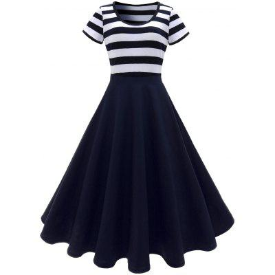 Scoop Neck Stripe Vestido Vintage Midi