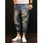 Zipper Fly Distressed Low-Slung Crotch Nine Minutes of Jeans - BLUE