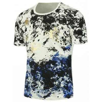 Buy WHITE Short Sleeves Splashed Paint Tee for $21.53 in GearBest store