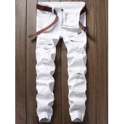 Zip Insert Ripped Jeans para Jogger