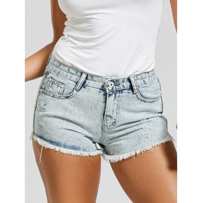 Destroyed Frayed Hem Denim Mini Shorts