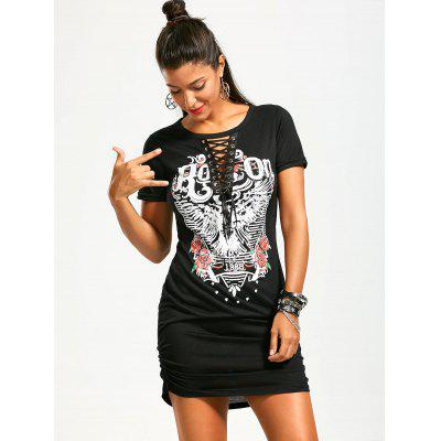 Ruched Lace Up Front Punk Print DressWomens Dresses<br>Ruched Lace Up Front Punk Print Dress<br><br>Dress Type: Tee Dress<br>Dresses Length: Mini<br>Elasticity: Elastic<br>Embellishment: Criss-Cross<br>Material: Polyester, Spandex<br>Neckline: Round Collar<br>Occasion: Club, Casual, Going Out, Outdoor<br>Package Contents: 1 x Dress<br>Pattern Type: Print<br>Season: Summer<br>Silhouette: Sheath<br>Sleeve Length: Short Sleeves<br>Style: Punk<br>Waist: Natural<br>Weight: 0.2300kg<br>With Belt: No