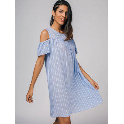 Cold Shoulder Stripes Casual DressWomens Dresses<br>Cold Shoulder Stripes Casual Dress<br><br>Dresses Length: Knee-Length<br>Material: Cotton, Polyester<br>Neckline: Round Collar<br>Occasion: Causal, Day, Going Out<br>Package Contents: 1 x Dress<br>Pattern Type: Striped<br>Season: Summer<br>Silhouette: Straight<br>Sleeve Length: Short Sleeves<br>Style: Casual<br>Weight: 0.2700kg<br>With Belt: No