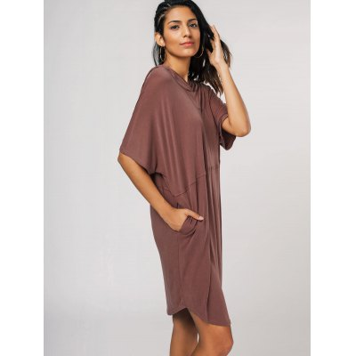 Relaxed Fit Pullover Hoodie DressWomens Dresses<br>Relaxed Fit Pullover Hoodie Dress<br><br>Dresses Length: Knee-Length<br>Material: Cotton Blend<br>Neckline: Hooded<br>Occasion: Beach and Summer, Causal, Day, Going Out, Night Out<br>Package Contents: 1 x Dress<br>Pattern Type: Solid<br>Season: Fall, Spring, Summer<br>Silhouette: Straight<br>Sleeve Length: Half Sleeves<br>Style: Casual<br>Weight: 0.3800kg<br>With Belt: No