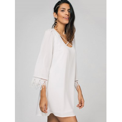 Crochet Panel Criss Cross Casual DressWomens Dresses<br>Crochet Panel Criss Cross Casual Dress<br><br>Dresses Length: Mini<br>Embellishment: Criss-Cross<br>Material: Cotton, Polyester<br>Neckline: Round Collar<br>Occasion: Causal, Day, Going Out<br>Package Contents: 1 x Dress<br>Pattern Type: Solid<br>Season: Summer<br>Silhouette: Straight<br>Sleeve Length: 3/4 Length Sleeves<br>Style: Casual<br>Weight: 0.3200kg<br>With Belt: No