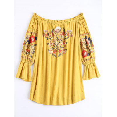 Ruffle Trim Floral Embroidery Shift Dress