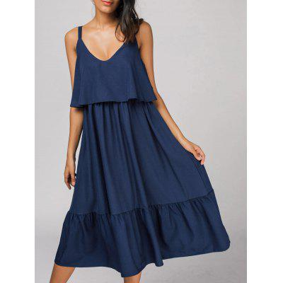Buy DEEP BLUE M Flounces Back Zipper Casual Midi Dress for $32.41 in GearBest store