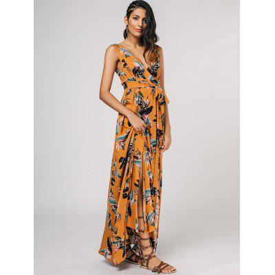 High Slit Floral Self Tie Maxi Surplice DressMaxi Dresses<br>High Slit Floral Self Tie Maxi Surplice Dress<br><br>Dresses Length: Ankle-Length<br>Material: Polyester<br>Neckline: Plunging Neck<br>Package Contents: 1 x Dress<br>Pattern Type: Floral<br>Season: Summer, Fall, Spring<br>Sleeve Length: Sleeveless<br>Style: A Line<br>Weight: 0.3700kg<br>With Belt: No