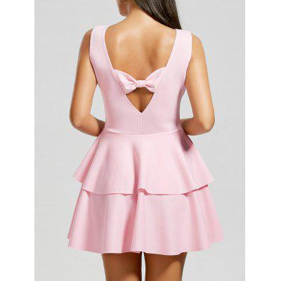 Buy PINK L Bowknot Cut Out Back Layered Flouce Dress for $19.84 in GearBest store
