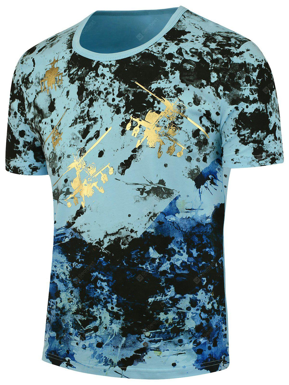 BLUE Short Sleeves Splashed Paint Tee