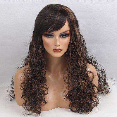 Long Side Bangm Colormix Shaggy Curly Synthetic Wig