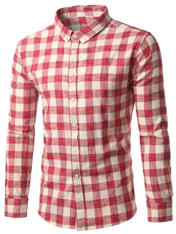 Button Down Checked Cotton Long Sleeve Shirt