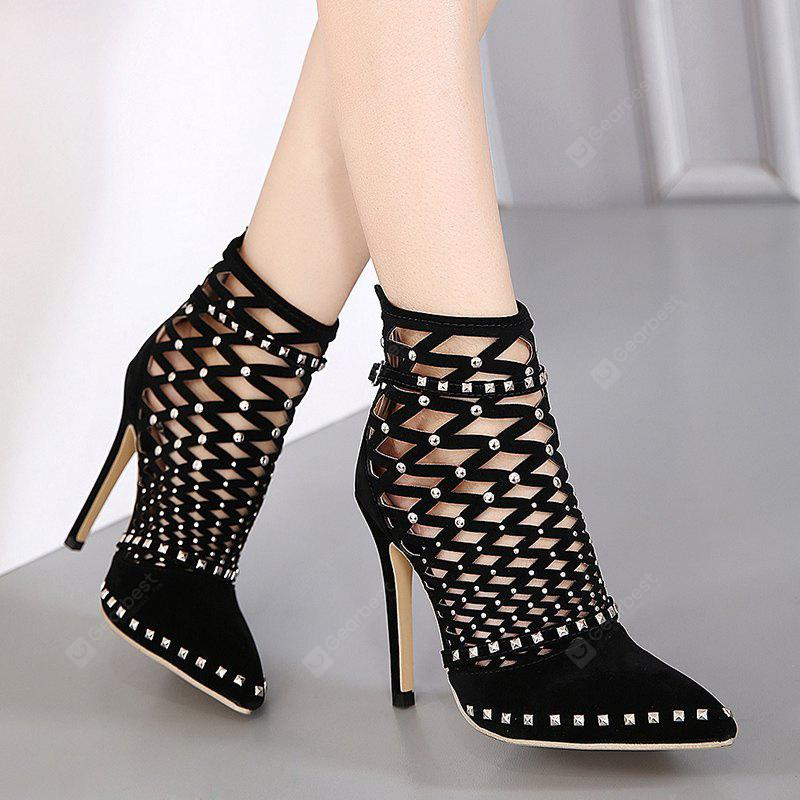 Studded Zipper Hollow Out Ankle Boots