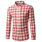 Button Down Checked Cotton Long Sleeve Shirt - RED