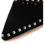 Studded Zipper Hollow Out Ankle Boots - BLACK