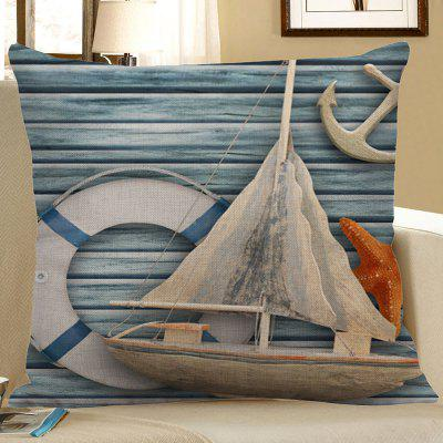 Sailboat Starfish Anchor Wood Grain Print Pillow Case