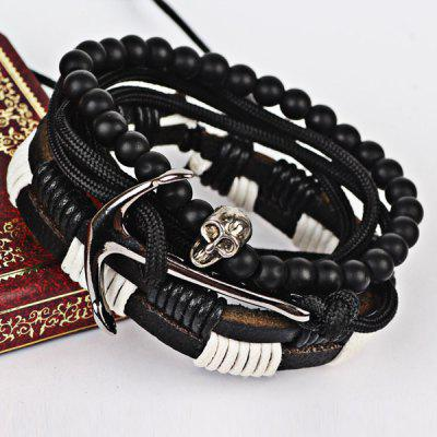 Faux Leather Skull Anchor Beaded Bracelet Set