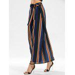 Side Slit Stripe Wide Leg Pants - BLUE