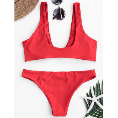 Knotted Scoop Neck Bikini SetWomens Swimwear<br>Knotted Scoop Neck Bikini Set<br><br>Bra Style: Padded<br>Elasticity: Elastic<br>Gender: For Women<br>Material: Nylon, Polyester, Spandex<br>Neckline: Scoop Neck<br>Package Contents: 1 x Top  1 x Bottoms<br>Pattern Type: Solid<br>Support Type: Wire Free<br>Swimwear Type: Bikini<br>Waist: Low Waisted<br>Weight: 0.2000kg