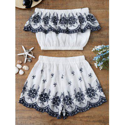 Embroidered Crop Top with ShortsWomens Swimwear<br>Embroidered Crop Top with Shorts<br><br>Cover-Up Type: Bottoms, Top<br>Embellishment: Embroidery<br>Gender: For Women<br>Material: Polyester<br>Package Contents: 1 x Top  1 x Shorts<br>Pattern Type: Others<br>Weight: 0.2700kg