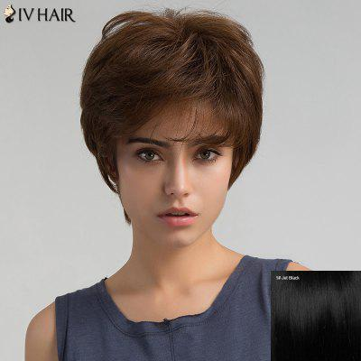 Short Inclined Bang Shaggy Layered Straight Human Hair Wig
