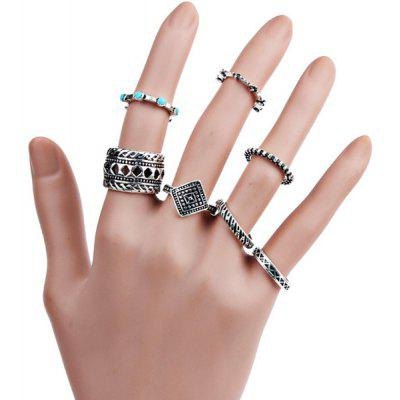 Bohemian Engraved Geometric Finger Ring Set