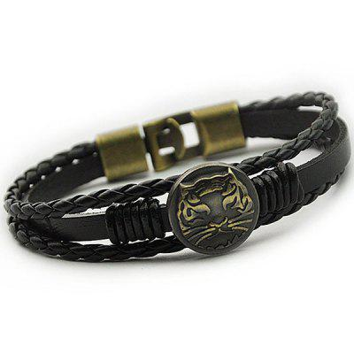Tiger Patterned Braid Faux Leather Bracelet