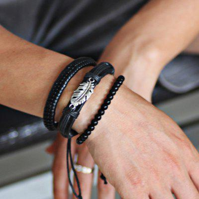 Faux Leather Rope Feather Beaded Armband Set