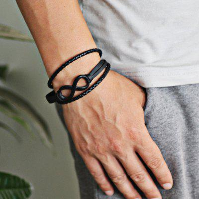 Faux Leather Braid Rope Infinite Bracelet