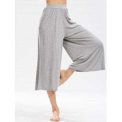 Buy GRAY Wide Leg Cropped Pants for $23.85 in GearBest store