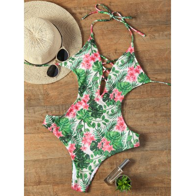 Halter Floral Criss Cross Swimwear