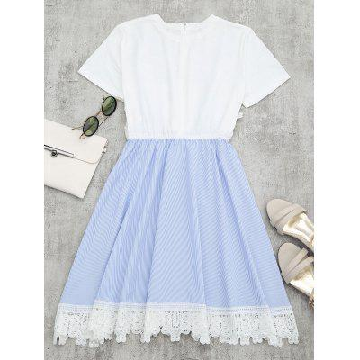 Lace Panel Faux Twin Set Striped DressWomens Dresses<br>Lace Panel Faux Twin Set Striped Dress<br><br>Dresses Length: Mini<br>Embellishment: Lace<br>Material: Polyester<br>Neckline: Round Collar<br>Occasion: Causal, Going Out<br>Package Contents: 1 x Dress<br>Pattern Type: Patchwork, Striped<br>Season: Summer<br>Silhouette: A-Line<br>Sleeve Length: Short Sleeves<br>Style: Casual<br>Weight: 0.2850kg<br>With Belt: No