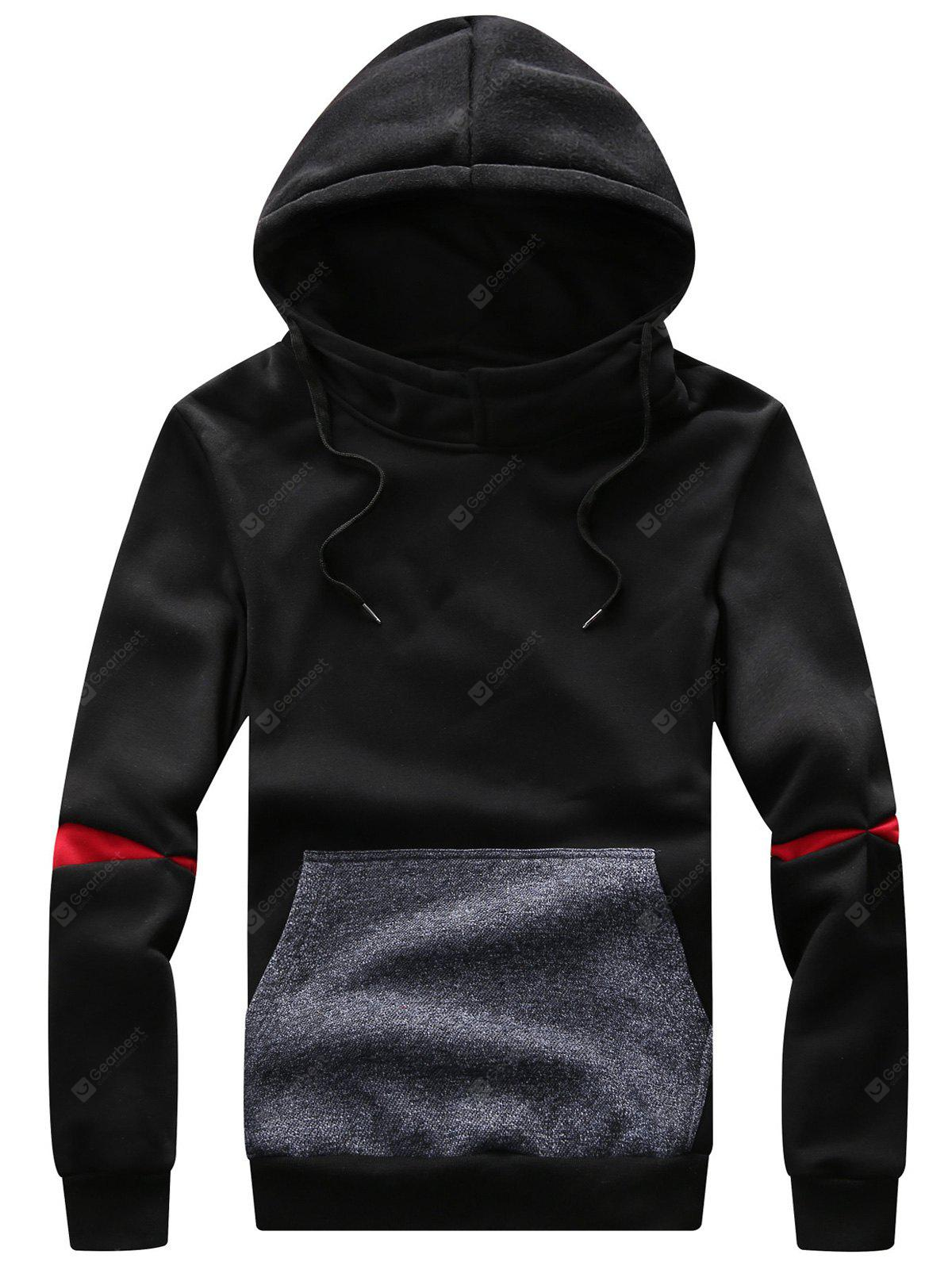 Hooded Color Block Panel Drawstring Fleece Hoodie