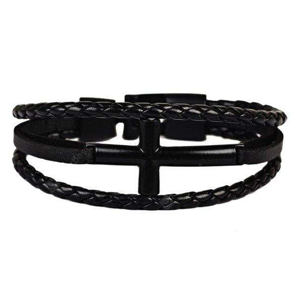 Artificial Leather Braid Rope Cross Bracelet