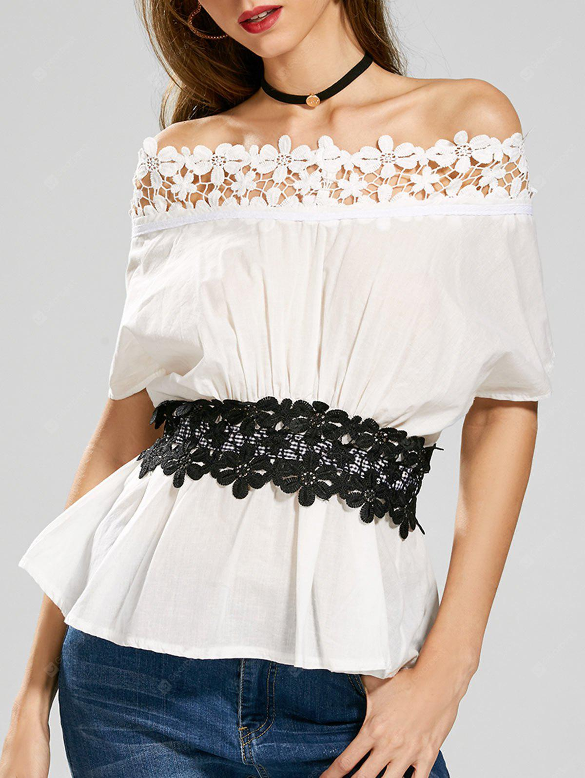 Off The Shoulder Laced Belted Top
