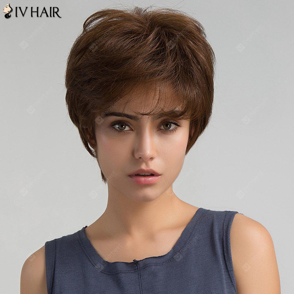 BROWN Short Inclined Bang Shaggy Layered Straight Human Hair Wig