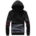 Hooded Color Block Panel Drawstring Fleece Hoodie - BLACK