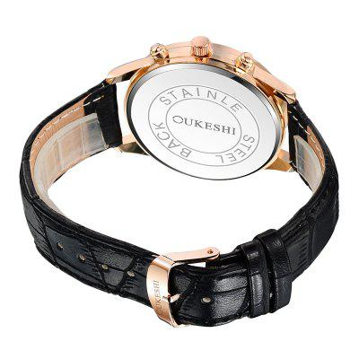OUKESHI Roman Numeral Faux Leather Strap WatchMens Watches<br>OUKESHI Roman Numeral Faux Leather Strap Watch<br><br>Band Length(CM): 25.5cm<br>Band material: PU Leather<br>Band Width(CM): 2.2cm<br>Case material: Alloy<br>Case Thickness(MM): 20mm<br>Dial Diameter: 4.2cm<br>Dial Shape: Round<br>Gender: For Men<br>Index Dial: Analog<br>Movement: Quartz<br>Package Contents: 1 x Watch<br>Style: Formal<br>Type: Quartz watch<br>Water-Proof: No