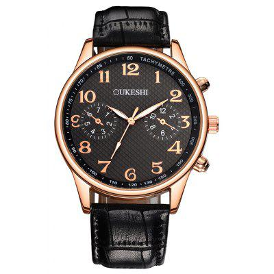 OUKESHI Faux Leather Strap Number Tachymeter Watch