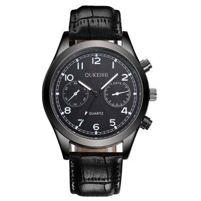 OUKESHI Faux Leather Strap Number Watch