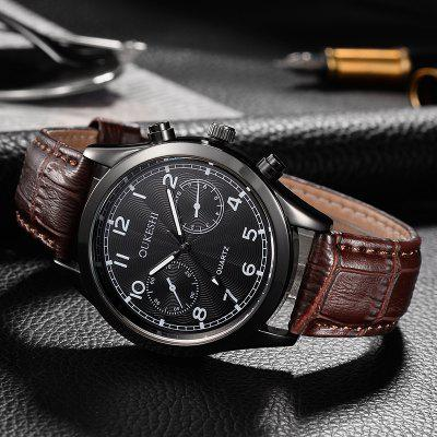 OUKESHI Faux Leather Strap Number WatchMens Watches<br>OUKESHI Faux Leather Strap Number Watch<br><br>Band Length(CM): 25.5cm<br>Band material: PU Leather<br>Band Width(CM): 2cm<br>Case material: Alloy<br>Case Thickness(MM): 20mm<br>Dial Diameter: 4cm<br>Dial Shape: Round<br>Gender: For Men<br>Index Dial: Analog<br>Movement: Quartz<br>Package Contents: 1 x Watch<br>Style: Formal<br>Type: Quartz watch<br>Water-Proof: No
