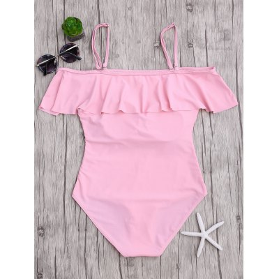 Flounced Off The Shoulder One-Piece SwimwearWomens Swimwear<br>Flounced Off The Shoulder One-Piece Swimwear<br><br>Bra Style: Padded<br>Elasticity: Elastic<br>Gender: For Women<br>Material: Cotton, Spandex<br>Neckline: Off The Shoulder<br>Package Contents: 1 x Swimwear<br>Pattern Type: Solid<br>Support Type: Wire Free<br>Swimwear Type: One Piece<br>Waist: Natural<br>Weight: 0.2650kg