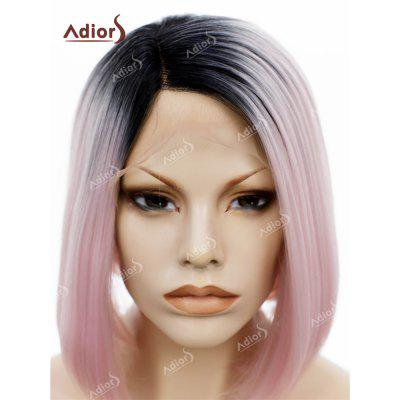 Adolescentes Parte do lado curto Colormix Straight Bob Lace Front Synthetic Wig